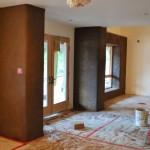Straw bale interior 'columns' frame the terrace doors